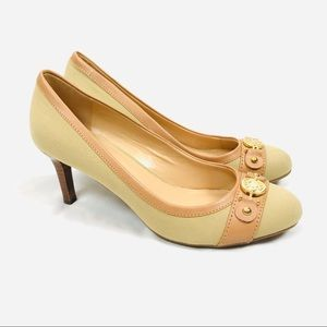 Tommy Hilfiger tan beige canvas neutral heels